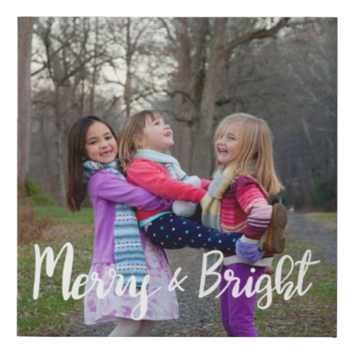Merry And Bright Script | Family Holiday Photo Faux Canvas Print