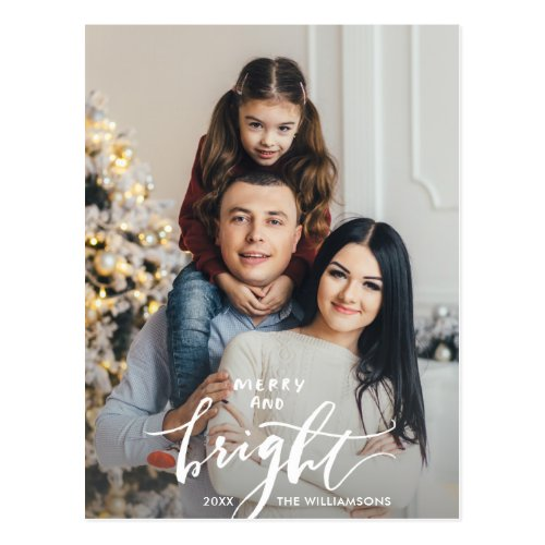 Merry Bright Christmas Hand Lettered Family Photo Postcard