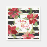 Merry & Bright Poinsettias, Black Stripe Napkins