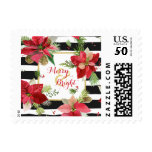 Merry & Bright Poinsettias on Black Stripe Postage