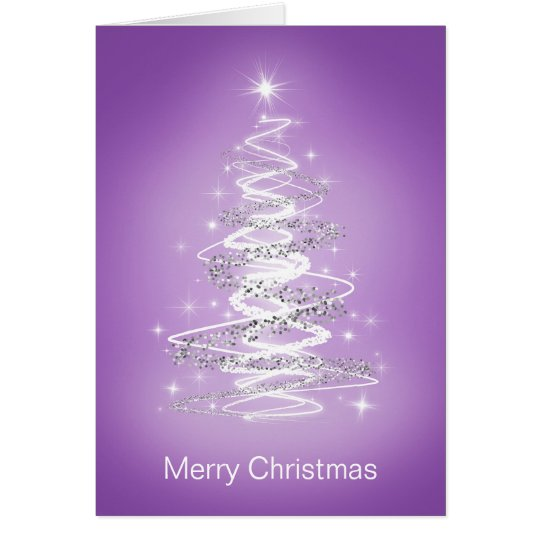 Merry Christmas Cards With Tree In Purple