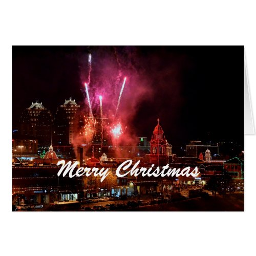 Merry Christmas Fireworks Kansas City Plaza Lights Greeting Cards