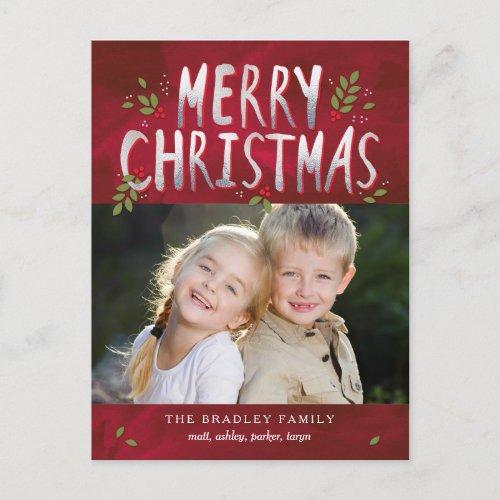 Merry Christmas Holiday Photo Card Postcard