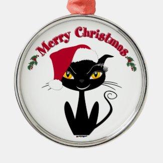 Merry Christmas Sassy Black Kitty