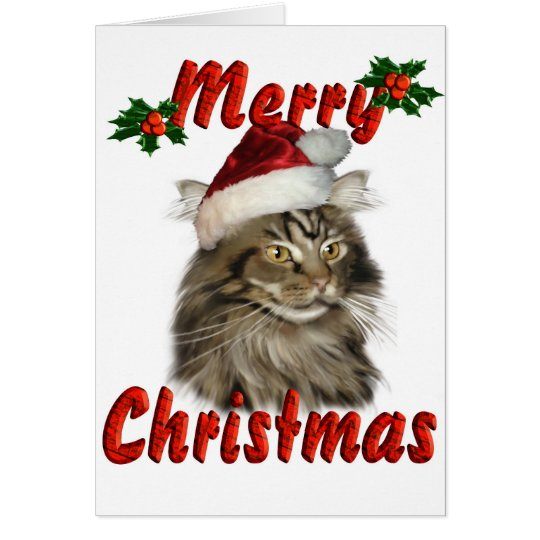 Merry Christmas Maine Coon Cat Card