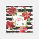 Merry Christmas Poinsettias, Black Stripe Napkins