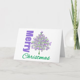 Merry Christmas Purple Theme Christmas Tree v2 card