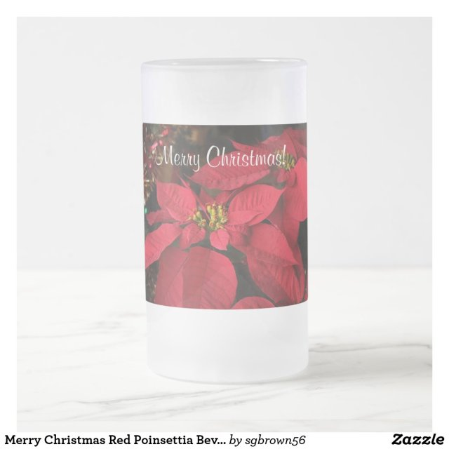 Merry Christmas Red Poinsettia Beverage Mug