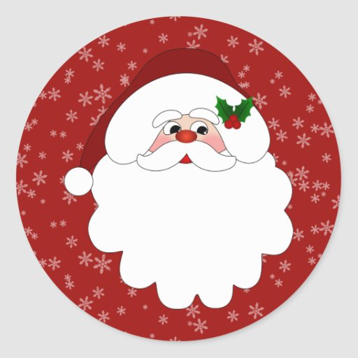 Merry Christmas Santa Classic Round Sticker Zazzle