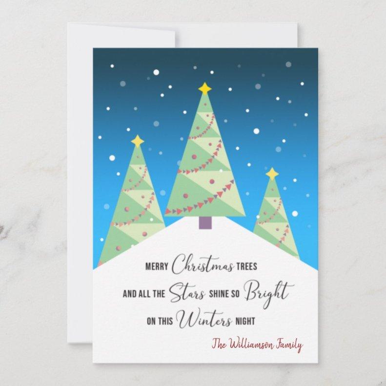 Merry Christmas Trees Haiku Modern Holiday Card