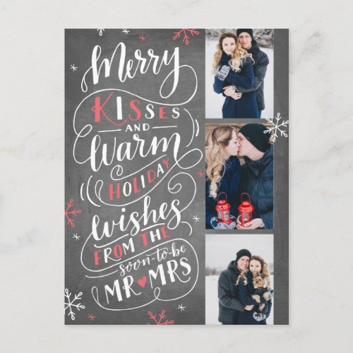 Merry Kisses Warm Holiday Wishes | Red Save Date Announcement Postcard