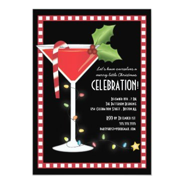 Merry Little Christmas Cocktail Holiday Party Invitation