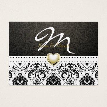 Metallic Gold & Black Damask Monogram RSVP Business Card