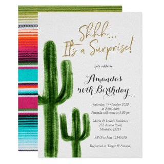 Mexican Cactus Surprise Birthday Party Invitation