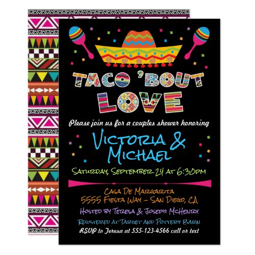 Mexican Fiesta taco bout love couples shower Invitation