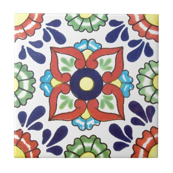 mexican talavera tile red green yellow blue zazzle com
