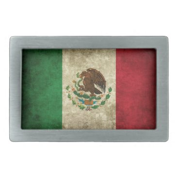 Mexico Flag Rectangular Belt Buckle