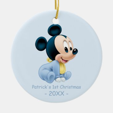 Mickey Baby's First Christmas Blue | Add Your Name Ceramic Ornament