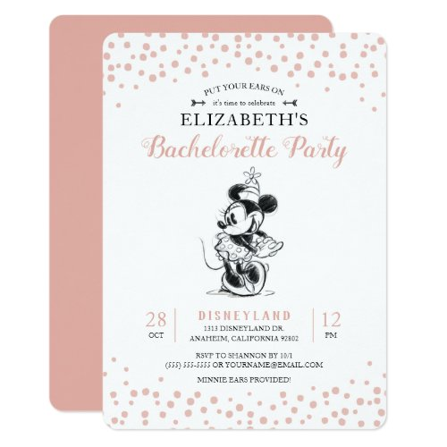 Mickey &amp&#x3B; Minnie | Pink Confetti Bachelorette Party Invitation