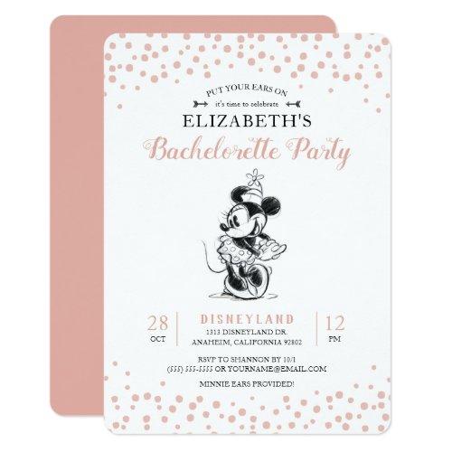 Mickey & Minnie | Pink Confetti Bachelorette Party Invitation