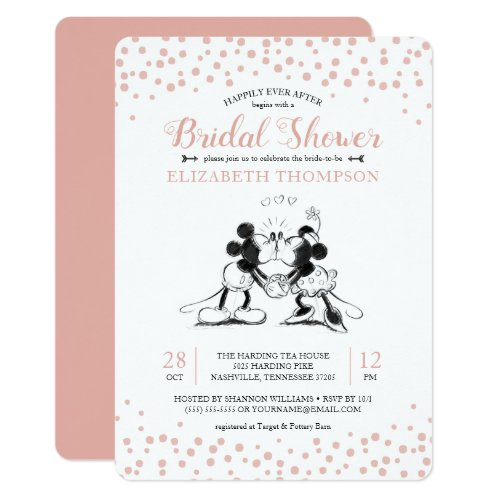 Mickey &amp&#x3B; Minnie | Pink Confetti Bridal Shower Invitation