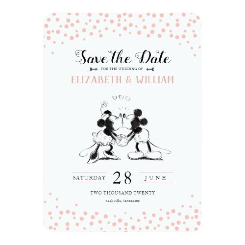 Mickey &amp&#x3B; Minnie | Pink Confetti Save the Date Invitation