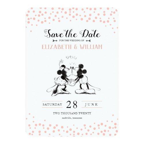 Mickey & Minnie | Pink Confetti Save the Date Invitation