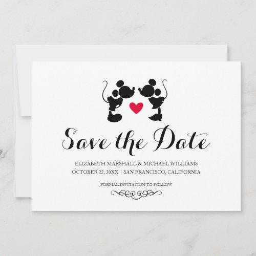 Mickey &amp&#x3B; Minnie Wedding | Silhouette Save the Date