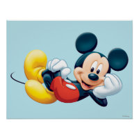 Mickey Mouse Laying Down Poster