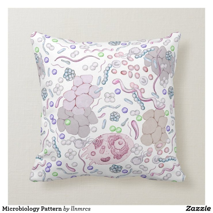 Microbiology Pattern Throw Pillow