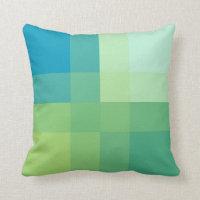 Mid-Century mega plaid - jade green Throw Pillow