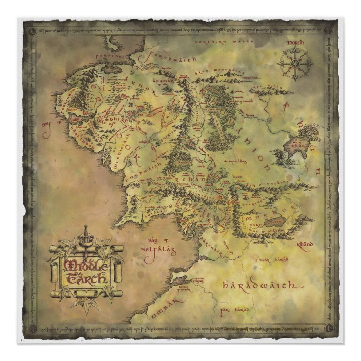 middle earth map poster zazzle com