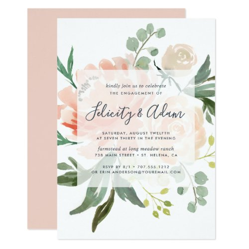 Midsummer Floral Engagement Party Invitation