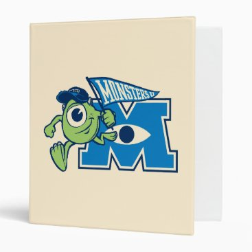 Mike with Monsters U Flag 3 Ring Binder