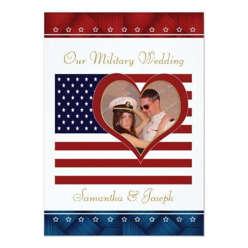 Military Wedding Invitation   Photo Flag Heart