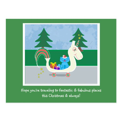 Milo Cat Christmas Unicorn Postcard