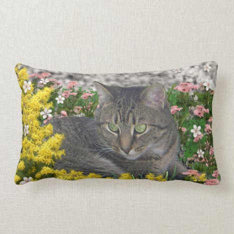 Mimosa the Tiger Cat in Mimosa Flowers Lumbar Pillow
