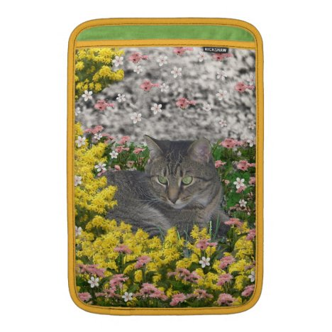 Mimosa the Tiger Cat in Mimosa Flowers MacBook Sleeve