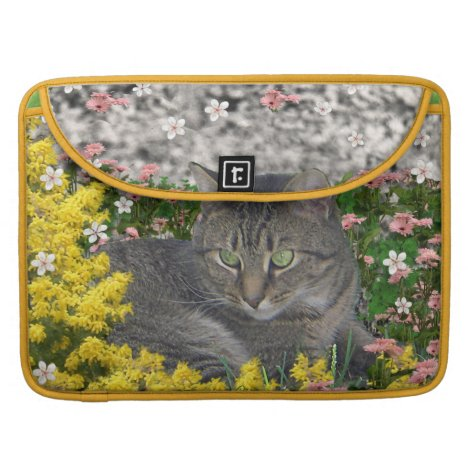 Mimosa the Tiger Cat in Mimosa Flowers Sleeve For MacBook Pro