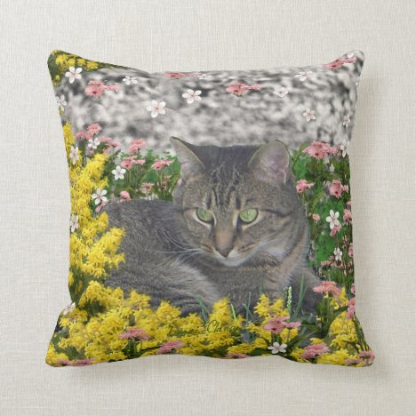 Mimosa the Tiger Cat in Mimosa Flowers Throw Pillow