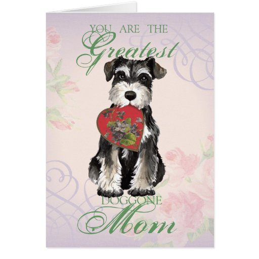 MIniature Schnauzer Heart Mom Card Zazzle