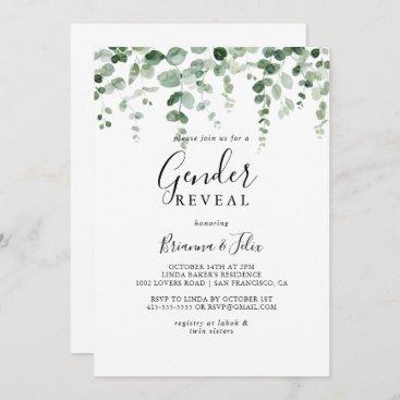 Minimalist Eucalyptus Gender Reveal Party  Invitation