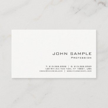 Minimalist Professional Modern White Matte Business Card
