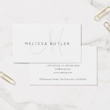 Minimalist Stylish Gray Monogram Business Card
