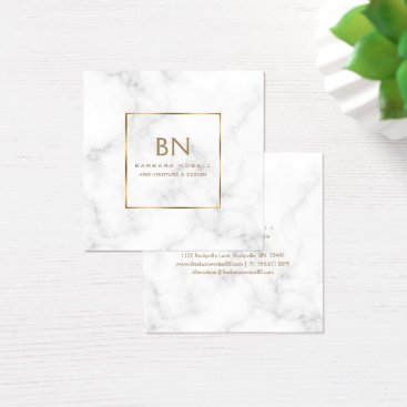 Minimalist White Marble Gold Monogram Square Business Card