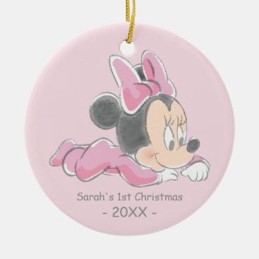 Minnie Baby's First Christmas Pink | Add Your Name Ceramic Ornament
