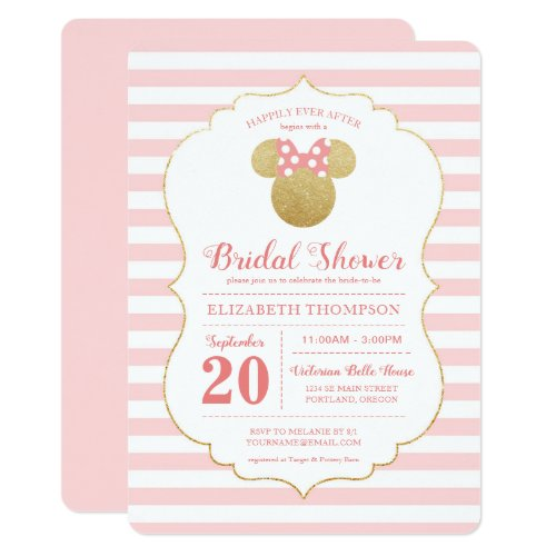 Minnie Mouse | Gold &amp&#x3B; Pink Striped Bridal Shower Invitation