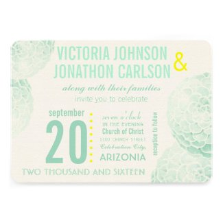 Mint and Yellow Succulent Modern Wedding Cards
