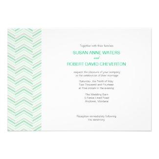 Mint Chevron Custom Wedding Invitations