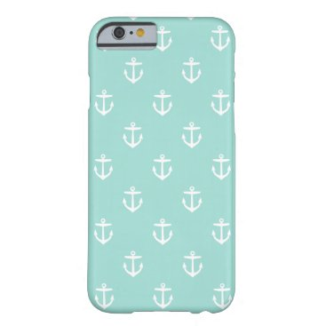Mint Cute Anchor Pattern Barely There iPhone 6 Case